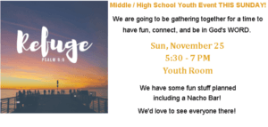 Refuge - Middle/High School Youth Event